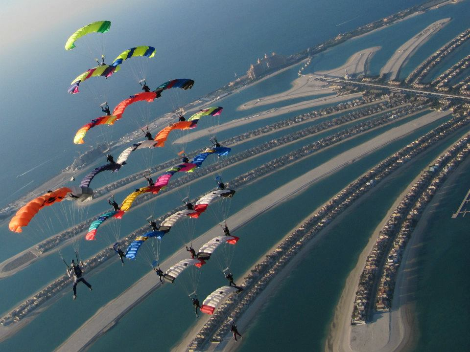 20 Way Canopy Formation flying over the Palm Island Dubai, UAE
